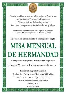 MISA MENSUAL HERMANDAD